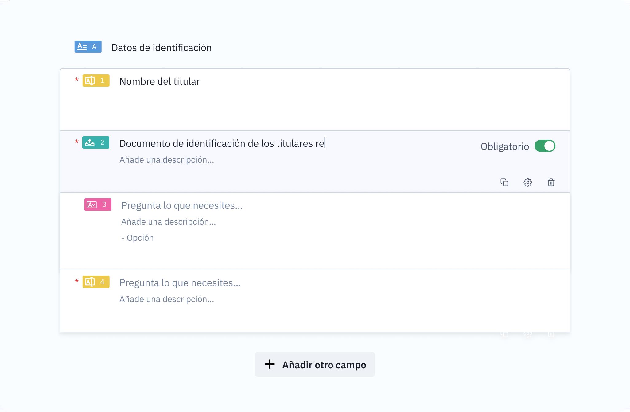 Una captura de pantalla de la aplicación donde se muestra la creación de una petición.